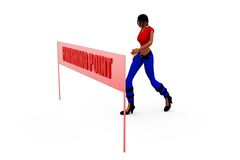 3d woman finish point concept Royalty Free Stock Photography