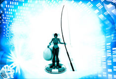 3d woman with fishing bag abd fishing rode illustration Stock Images