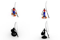 3d woman fishing concept collections with alpha and shadow channel Stock Photography