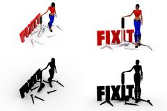 3d woman fix it Concept Collections With Alpha And Shadow Channel Stock Photos