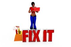3d woman fix it concept Royalty Free Stock Photo