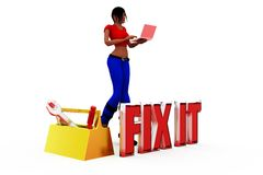 3d woman fix it concept Stock Photo