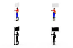 3d woman with flag concept Collections With Alpha And Shadow Channel Royalty Free Stock Photography