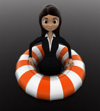3d woman float with life saver floating tube concept Royalty Free Stock Image