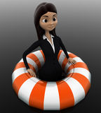 3d woman float with life saver floating tube concept Stock Photos