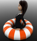 3d woman float with life saver floating tube concept Royalty Free Stock Photography