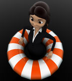 3d woman float with life saver floating tube concept Royalty Free Stock Photos