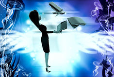 3d woman with flying books illustration Royalty Free Stock Photography