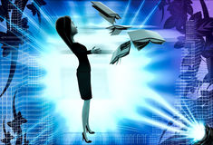 3d woman with flying books illustration Stock Photos