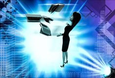 3d woman with flying books illustration Royalty Free Stock Photo
