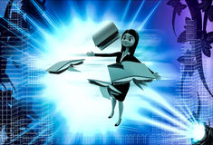 3d woman with flying books illustration Stock Images