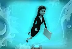 3d woman flying with file illustration Royalty Free Stock Image