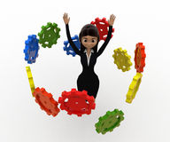 3d woman flying many cogwheel around her concept Royalty Free Stock Images