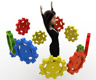 3d woman flying many cogwheel around her concept Stock Photos