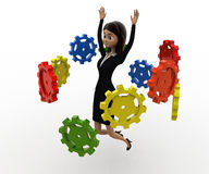 3d woman flying many cogwheel around her concept Royalty Free Stock Photography