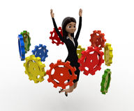3d woman flying many cogwheel around her concept Stock Photo