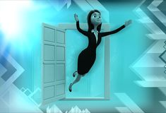 3d woman flying out of window illustration Stock Images