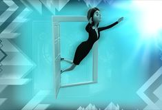 3d woman flying out of window illustration Royalty Free Stock Photos