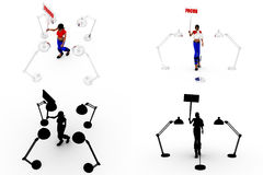3d woman focus concept collections with alpha and shadow channel Stock Images