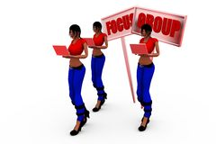 3d woman focus group concept Royalty Free Stock Images