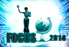 3d woman focus text and earth model illustration Stock Photography