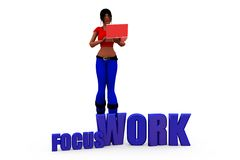 3d woman focus work concept Royalty Free Stock Images