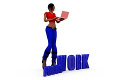 3d woman focus work concept Royalty Free Stock Photo