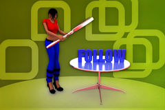 3d woman follow illustration Stock Images