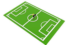 3d character with key in football ground concept Stock Photo