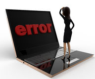 3d woman found error on laptop screen concept Stock Photos