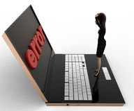 3d woman found error on laptop screen concept Stock Photography