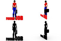 3d woman found job concept Collections With Alpha And Shadow Channel Stock Images