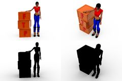 3d woman FTP Concept Collections With Alpha And Shadow Channel Royalty Free Stock Photography