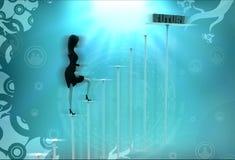 3d woman future steps illustration Stock Photo
