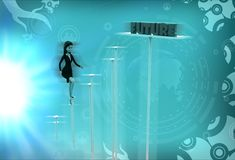 3d woman future steps illustration Stock Images