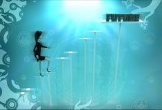 3d woman future steps illustration Royalty Free Stock Photos