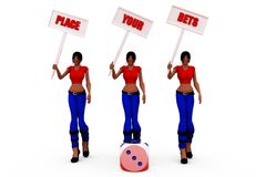 3d woman gamble concept Royalty Free Stock Image