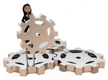 3d woman with gears concept Royalty Free Stock Image
