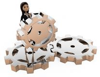 3d woman with gears concept Stock Photo