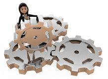 3d woman with gears concept Royalty Free Stock Photo
