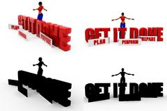3d woman get it done Concept Collections With Alpha And Shadow Channel Stock Images