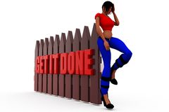 3d woman get it done concept Royalty Free Stock Images