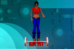 3D woman get fit illustration Royalty Free Stock Images