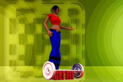 3D woman get fit illustration Stock Photo