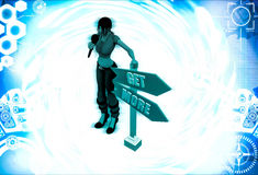 3d woman get more sign board illustration Royalty Free Stock Photos