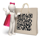 3d woman with giant QR code shopping bag. 3d rendered woman standing near a giant shopping bag with printed matrix barcode aka QR code Royalty Free Stock Photo
