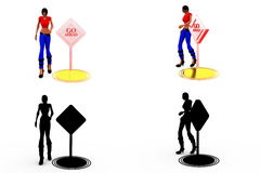 3d woman go ahead concept Collections With Alpha And Shadow Channel Royalty Free Stock Image