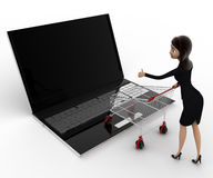 3d woman going for online shopping through laptop with cart concept Stock Photos