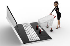 3d woman going for online shopping through laptop with cart concept Royalty Free Stock Photos