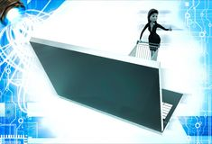 3d woman going for online shopping through laptop with cart illustration Stock Photo